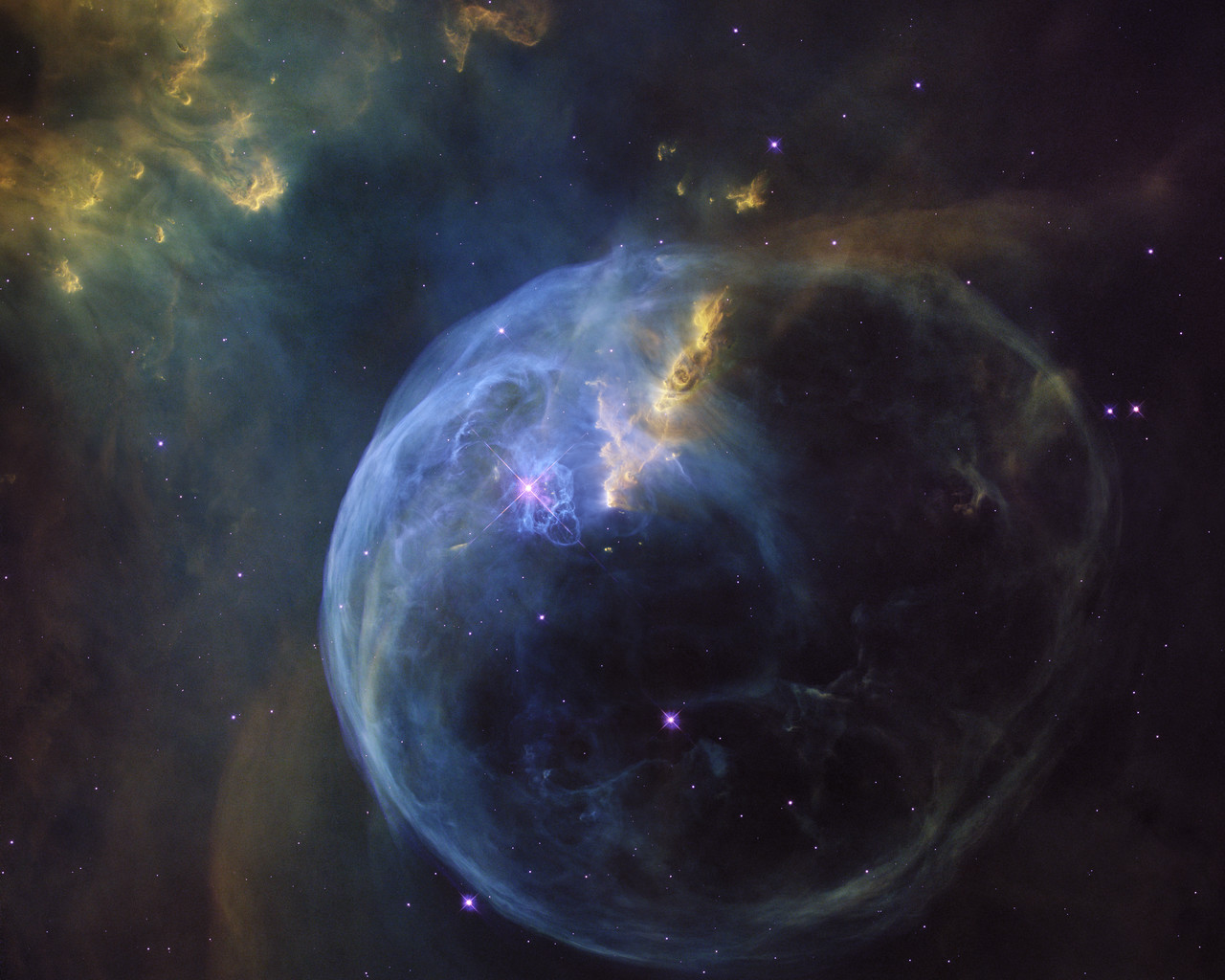 The Bubble Nebula, also known as NGC 7635, is an emission nebula located 8 000 light-years away. This stunning new image was observed by the NASA/ESA Hubble Space Telescope to celebrate its 26th year in space.